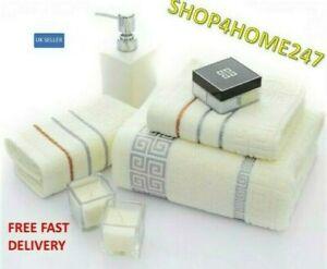 2 PC LUXURY TOWEL SET 100% COMBED COTTON SOFT DESIGN HAND BATH BATHROOM TOWELS