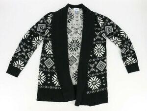 Old Navy Big Girls Open Cardigan Winter Sweater Size Large (10-12) White Black