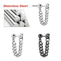 Punk Gothic Men Stainless Steel Chain Dangle Ear Stud Piercing Earrings Jewelry