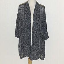 Torrid Womens Sweater 3XL Black White Marbled Cardigan 3/4 Sleeves VGUC