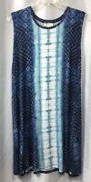 Style & Co. NWT Women's Plus Size 1X Dress Blue White Sleeveless Stretchy Knit