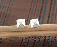 925 Sterling Silver 1 Pair of Pyramid Stud Earrings 4 mm. Tiny earrings