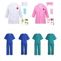 Child Doctor Nurse Uniform Fancy Dress Costume & Stethoscope Surgeon Ages 2-14