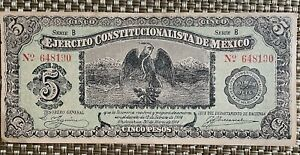 Mexico Bank Note 5 Pesos Ejercito Constitucionalista de Mexico 1914 Crisp UNC