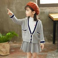 2x Kids Girl Knit Cardigan V-neck Tops + Pleated Skirt Infant Preppy Sets Casual
