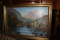Original ZALA Signed Oil Painting On Canvas Village By Water Mountains Framed