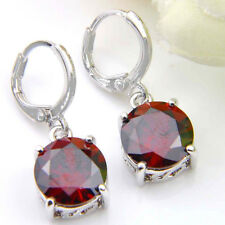 New Arrival Round Cut Natural Fire Red Garnet Silver Dangle Earrings