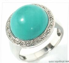 White Topaz and Simulated Turquoise Sterling Silver Ring