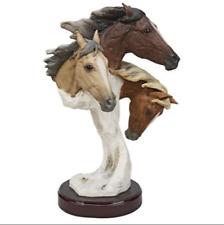 3D EQUESTRIAN TRIO HORSE SCULPTURE Colt Stallion Bust Statue Contemporary Art