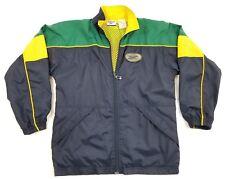 Reebok Boys Medium Jacket Navy Blue Green Yellow Full Zip Windbreaker Vintage