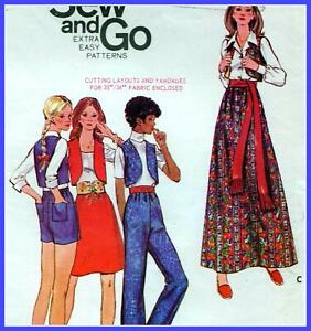 """EASY Vintage 70s SKIRT Shorts PANTS Sewing Pattern Bust 36"""" Sz 12 RETRO Outfit"""
