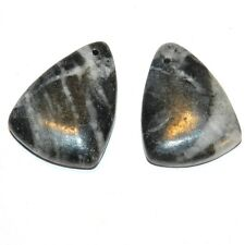 P2152 Picasso Marble 26mm Top-Drilled Triangle 2-piece Gemstone Pendant Bead Set