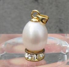 9.8x12mm Nature Perfect Akoya White Pearl Pendant 14k Yellow Gold P Hoop