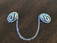 Vintage 925 Sterling Silver NAVAJO Native American Sweater 2mm Chain-Clips 8""