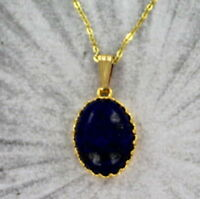 LAPIS LAZULI GEMSTONE PENDANT, NECKLACE 14KT ROLLED GOLD  WIRE WRAPPED