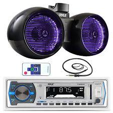 "Pyle Marine Bluetooth AUX USB Radio, 6.5""  Tower Wake Board Speakers, Antenna"