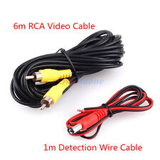 Waterproof 6M 20Ft RCA Car Rear View Camera Video Cable Detection Wire Cable 1M