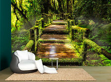 Jungle Bridge Plants Trees Forrest Wall Mural Photo Wallpaper GIANT WALL DECOR