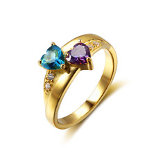 Size 8, Double Hearts Ring, 925 Silver 18K Gold Plated Birthstones Mothers Gift