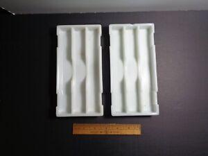 2 VINTAGE DENTAL AMERICAN CABINET CO MILK GLASS INSTRUMENT TRAYS,  LOT 4