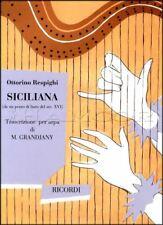 Ottorino Respighi Siciliana for Harp Sheet Music Book from 16th Century Lute