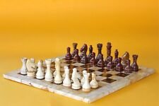 "16"" Chess Set Teak Stone & Red-Brown Marble Hand Made in Velvet/Suede Gift Box"