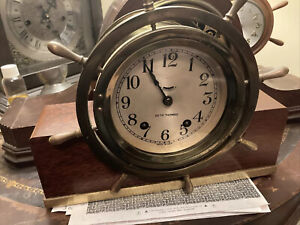 Vintage Seth Thomas Brass Mantel Ships Wheel Style Chiming Clock,L@@K!