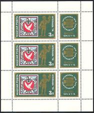 Hungary 1974 Dove/Pigeon/Stamp-on-Stamp/Birds/StampEx/Animation 3v m/s (n40281)