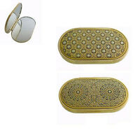 Damascene Gold Compact Mirror Geometric Design by Midas of Toledo Spain 8553