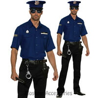 K35 Mens BLUE Police Officer Policeman Halloween Cops Uniform Costume Outfit