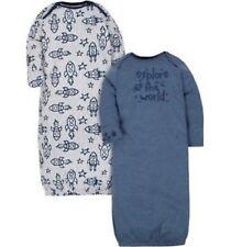 8eaf81a0a362 GERBER BABY BOY Organic Cotton Lap Shoulder Gowns 2-Pack - ROCKET / STARS -