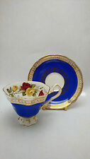Royal Stafford Yellow & Red Roses Blue Teacup Cup & Saucer Set Blue Body & Gold