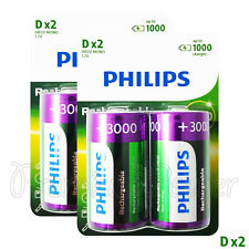 4 x Philips Rechargeable D Size batteries 3000mAh 1.2V Ni-MH HR20 MONO Pack of 2