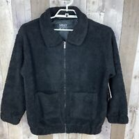 Marc New York Women's Size Small Zip Up Teddy Bomber Jacket Black NEW