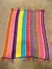 Vintage ? CROCHET AFGHAN BLANKET Throw 47 x 35 Fringe Striped Rainbow Homemade