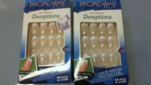 BA) 2 Boxes Broadway Short False Fake Nails Fast French Deceptions (Dry Glue!)