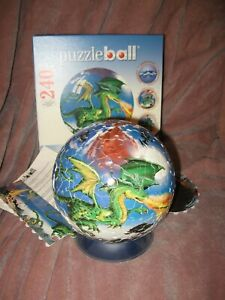 """Puzzle Ball Ravensburger fire Dragon 2009 Completed 11 5075 6"""" Ball"""