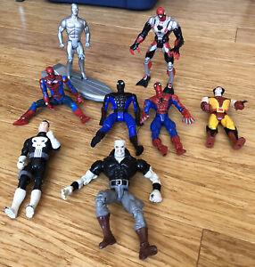 Vintage 90s Lot of 8 Marvel Action Figure ToyBiz X-men Spiderman