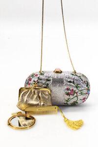 Judith Leiber Floral Crystal Minaudiere Evening Clutch Handbag Silver Gold