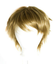 11'' Short Messy Spiky Milk Tea Brown Synthetic Cosplay Jean Wig NEW