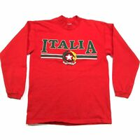VINTAGE GALT SAND ITALIA MENS RED LONG SLEEVE USA MADE 90s T SHIRT SIZE M