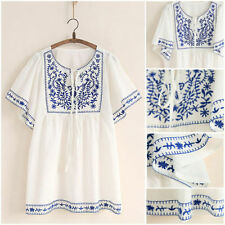 White Women Ethnic Embroidered Boho Peasant Mexican Loose Gypsy Blouse Szie L