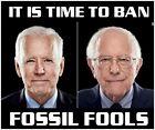 Joe Biden Bernie Sanders Bumper Sticker Time to ban Fossil Fools 5' x 6' Decal