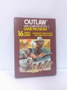 Outlaw (Atari 2600, 1978) Game & Box Tested Working Fast Shipping!