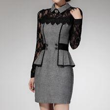 Women Work Wear Lace Patchwork Elegant Bodycon Pencil Office Formal Dress UK4-14