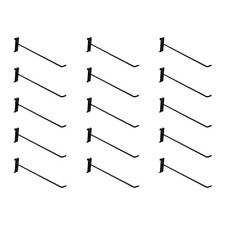 15 Pc 12 Gloss Black Long Grid Wall Metal Hooks Display Gridwall Panels