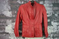 Womens Red Leather Jacket size See Description No.F776 13/11