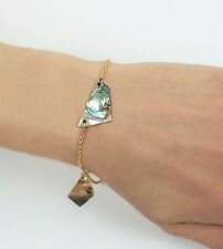 14k Yellow Gold Filled Abalone Shells Chain Adjustable Bracelet Vintage Jewelry