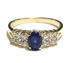 14k yellow gold synthetic sapphire cubic zirconia cz womens ring 3.1g estate
