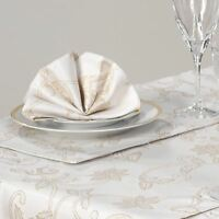 Gold Cream Christmas Place Mats Set Pack of 2 Sparkle Holly Fabric Placemats